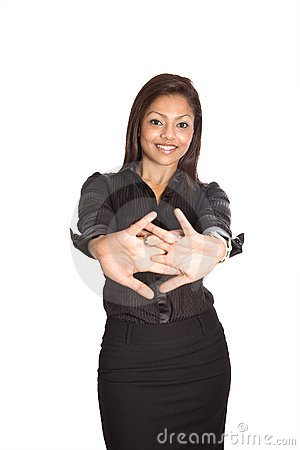 Businesswoman demonstrating simple stretching