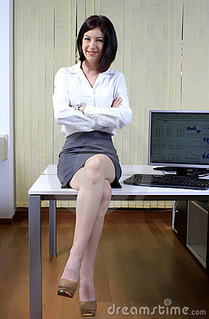 Businesswoman on the desk