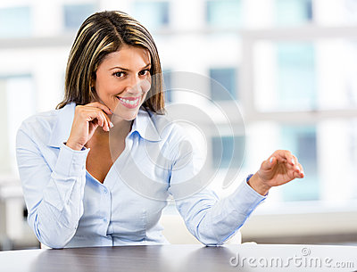 Businesswoman displaying something