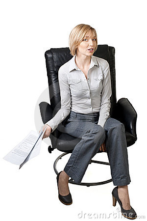 Businesswoman with documents in her hand