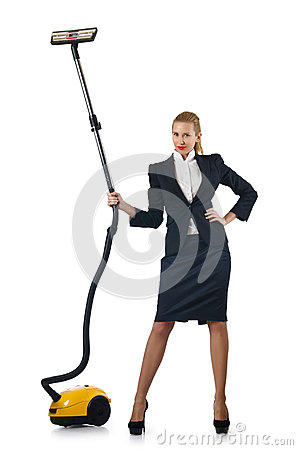 Businesswoman doing  cleaning on white