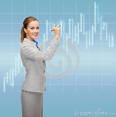 Businesswoman drawing forex chart in air