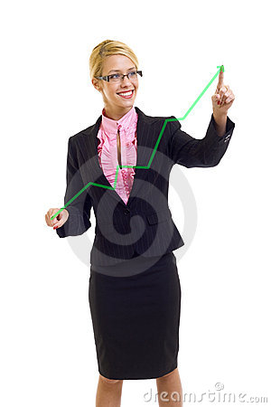 Businesswoman drawing a growing chart