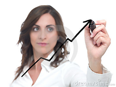 Businesswoman drawing statistics