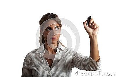 Businesswoman drawing on wihteboard