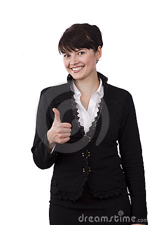 Businesswoman dressed in black suit shows OK.