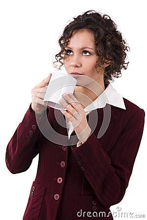 Businesswoman drinking coffee