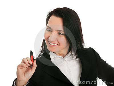 Businesswoman dwring a sketch using marker