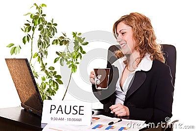 Businesswoman enjoying her coffee-break
