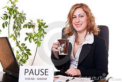 Businesswoman enjoying her pause