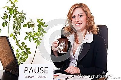 Businesswoman enjoying her pause