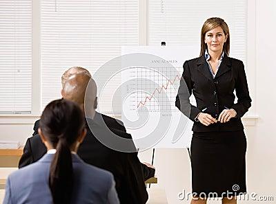 Businesswoman explaining financial analysis chart