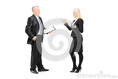 Businesswoman explaining an idea to her boss