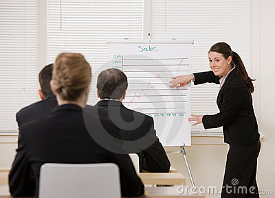 Businesswoman explaining presentation