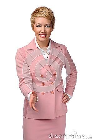 Businesswoman Extending Hand to Greet