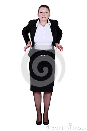 A businesswoman feeling tight.