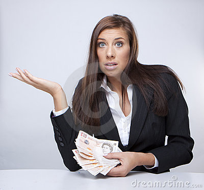 Businesswoman fighting about the money