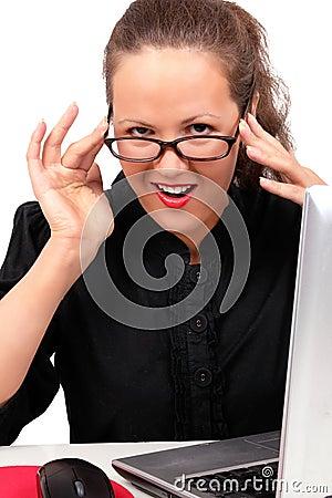 Businesswoman flirting on a workplace