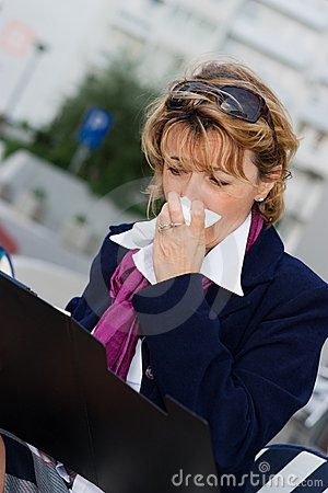 Businesswoman in flu