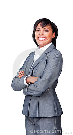 Businesswoman with folded arms smiling