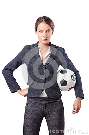 Businesswoman with football