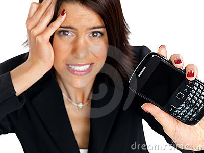 Businesswoman frustrated with her mobile