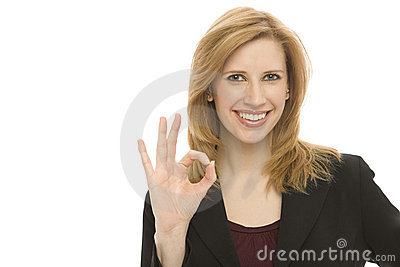Businesswoman gestures