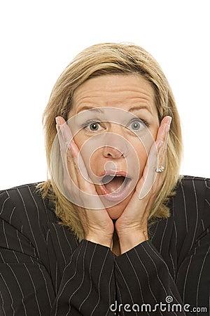 Businesswoman gestures shame