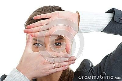 Businesswoman gesturing against white background