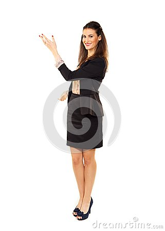 Businesswoman Gesturing in Copyspace