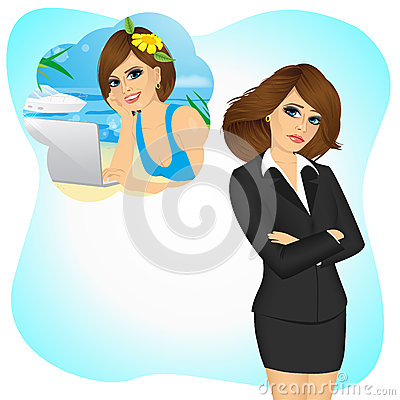 Free Businesswoman Girl Longing To Work Remotely Stock Photography - 62767222