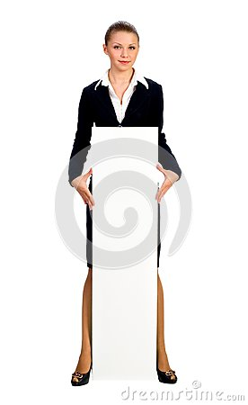 Businesswoman giving big card. Isolated on white