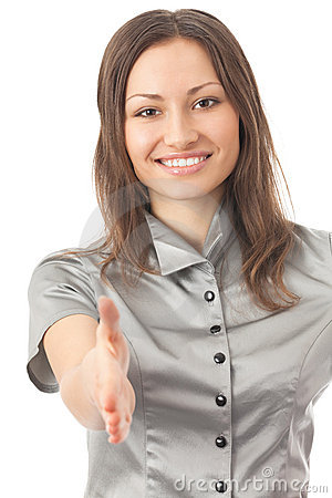Businesswoman giving hand