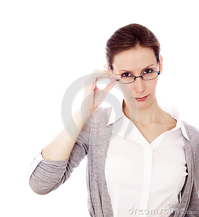 Businesswoman glasses isolated white copy space