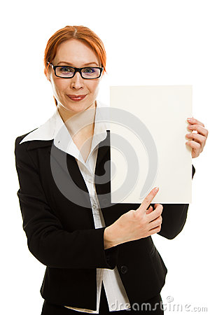 Businesswoman in glasses with the red hair