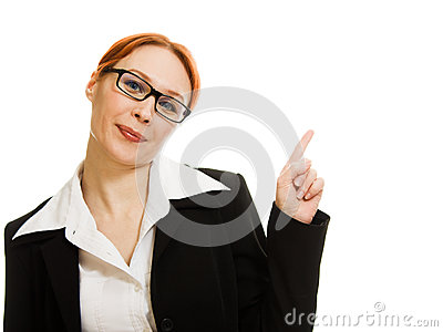 Businesswoman in glasses on a white background.
