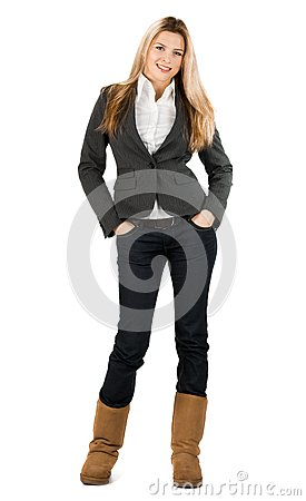 Businesswoman in grey suit