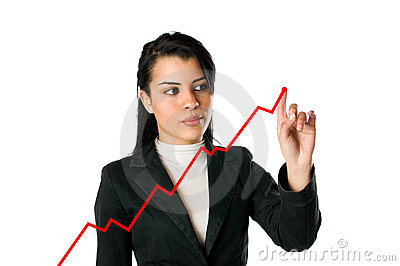 Businesswoman and growing chart