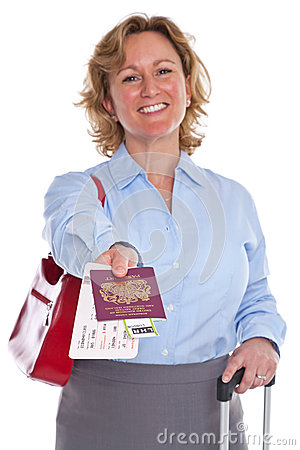 Businesswoman handing you her passport