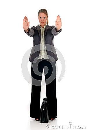 Businesswoman hands stop