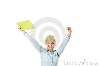 Businesswoman with hands up