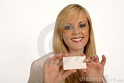 Businesswoman hands, woman holding Card