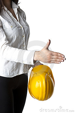 Businesswoman with hardhat Ready For Handshaking