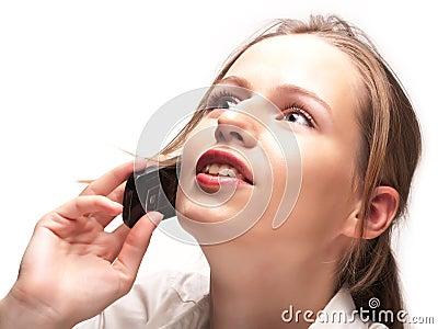 Businesswoman having phone conversation