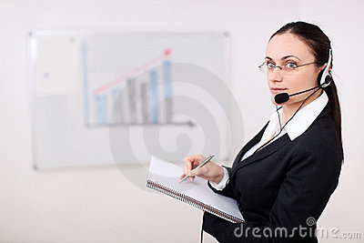 A businesswoman with headset
