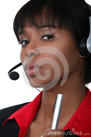 Businesswoman with a headset on.