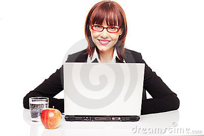 Businesswoman With Healthy Snack