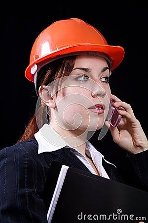 Businesswoman in a helmet
