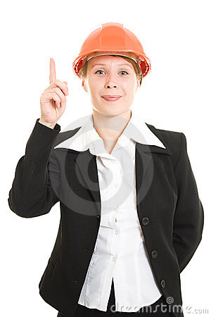 Businesswoman in a helmet shows a finger up.