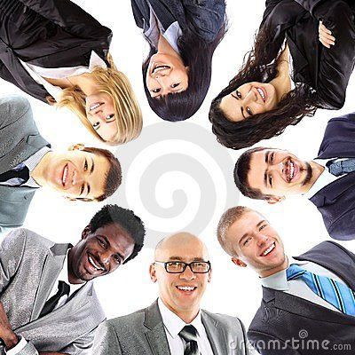 Businesswoman with her collegues using laptop
